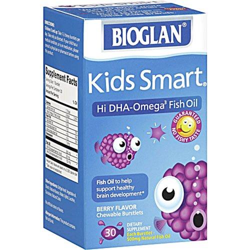 Salut intelligente DHA oméga-3 d'huile de poisson Bioglan enfants, 500 mg, Berry Flavor, croquer Burstlets, 30 ct.