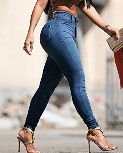 Kasen Jeans Marino Alta Elastici Lunghi Denim Skinny Vita Donna Pantaloni Blu SZnWSqF