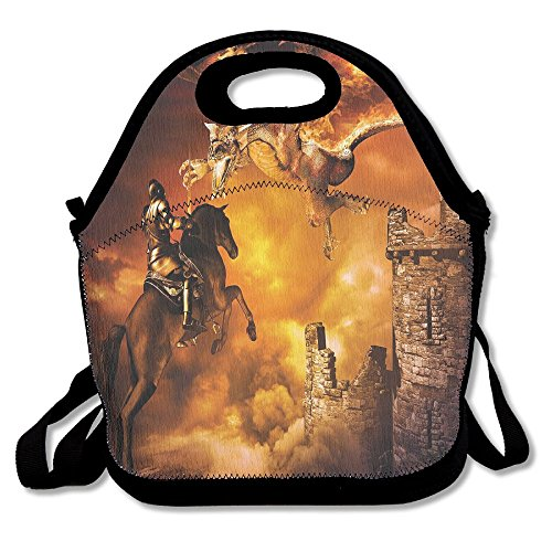 Jieruikam Insulated Lunch Bag A Knight On Horse Castle Mystic Fairytale Multifunction Waterproof Tote Reusable Picnic Bags For Women Mens (Fairy Tale Castle Storage)