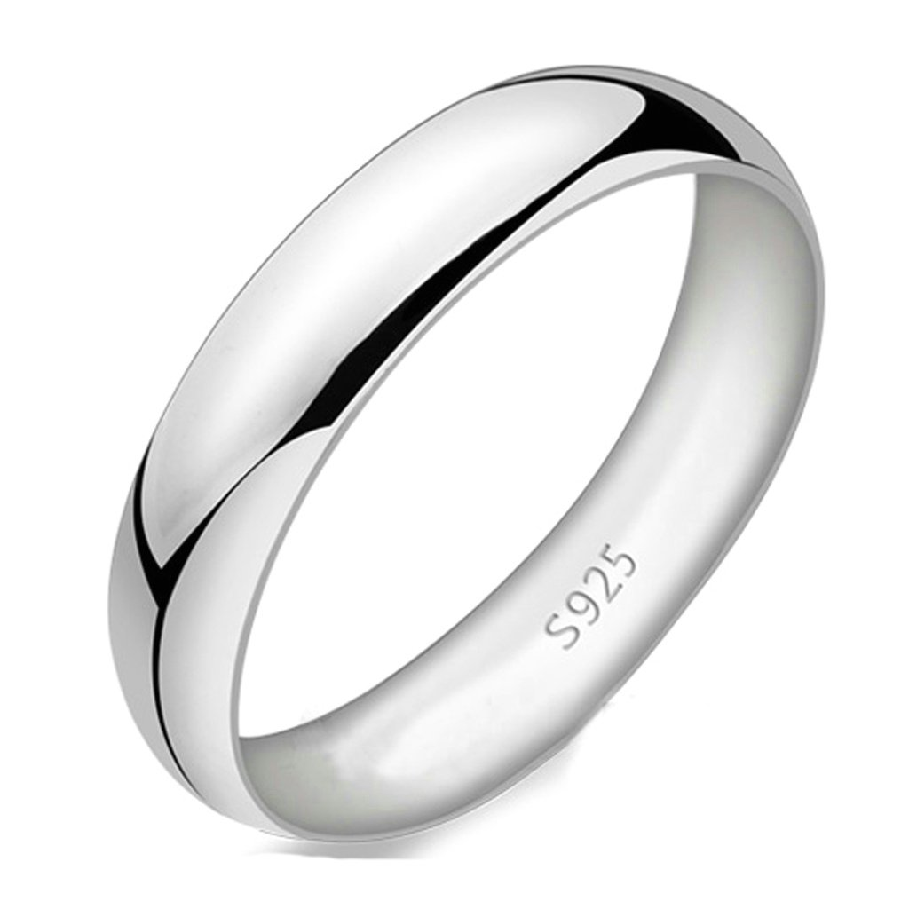 AnaZoz 925 Silver 4MM Men Wedding Ring Comfort Size 10