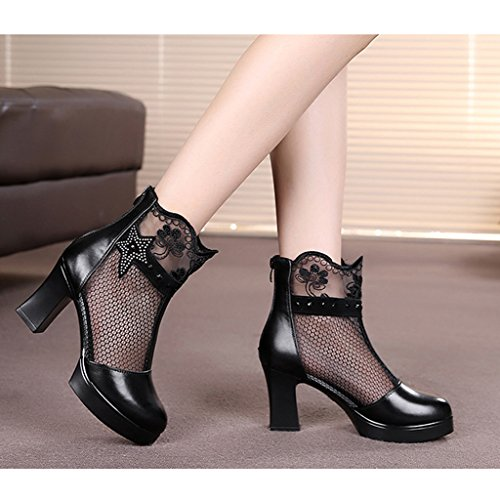 HXGL Boots Women's Spring Thick with Single Boots Leather Mesh Boots Mesh Breathable Lace High-Heeled Shoes Women's Boots Black XScw2