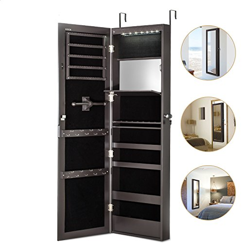 Jewelry Cabinet Armoire with Mirror Led Light Wall Door Mounted Organizer Storage,Brown (Dresser On Mirror)