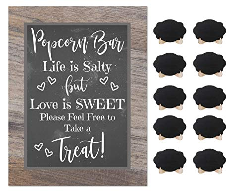 Popcorn Bar Rustic Chalkboard Design Flyer Wedding Shower Buffet Supplies with 10 Small Mini Chalkboards Accessories (Popcorn)