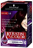 Schwarzkopf Keratin Color Permanent Hair Color Cream, 1.8 Ruby Noir (Packaging May Vary)
