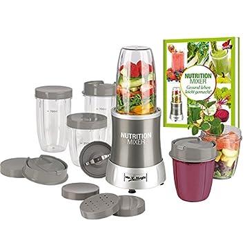 Gourmet Maxx Nutrition Juego de tazas de batidora con 8 piezas y recetas, Gris, 700 W: Amazon.es: Hogar