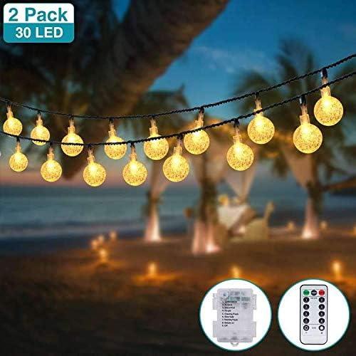 2 Pack] LED Bola de Cristal Luces, Kolpop 4.5m 30 LED Bola de Cristal Luces LED Pilas, 8 Modes Guirnalda Bombillas Cadena Luces Decoracion para Navidad Terraza Hogar Jardín Arboles Patio Bodas