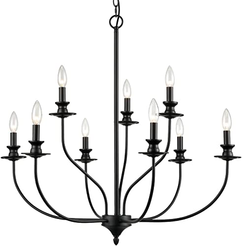 Modern Dining Room Chandeliers Metal Farmhouse Candle Style Black Chandelier