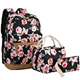 Cheap BLUBOON Teens Backpack Set Girls Women School Bags, Bookbags 3 in 1 (Black-0019)