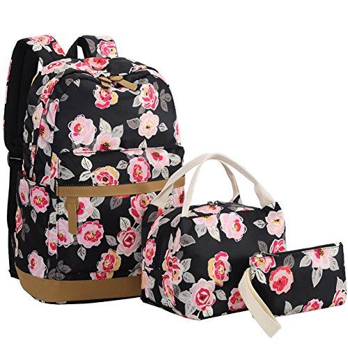 BLUBOON Teens Backpack Set Girls Women School Bags, Bookbags 3 in 1 (Black-0019)