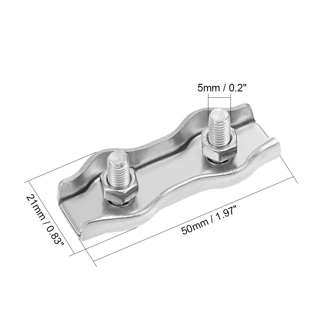 sourcing map 4Pcs 304 Stainless Steel Duplex Wire Rope Clip Cable Clamp Suit for 3mm-4mm Rope