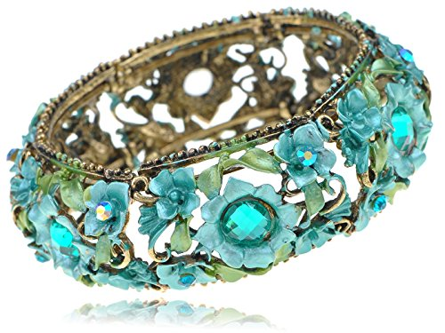 Alilang Synthetic Turquoise Funky Blue Green Flower Leaf Vine Cluster Bracelet Bangle