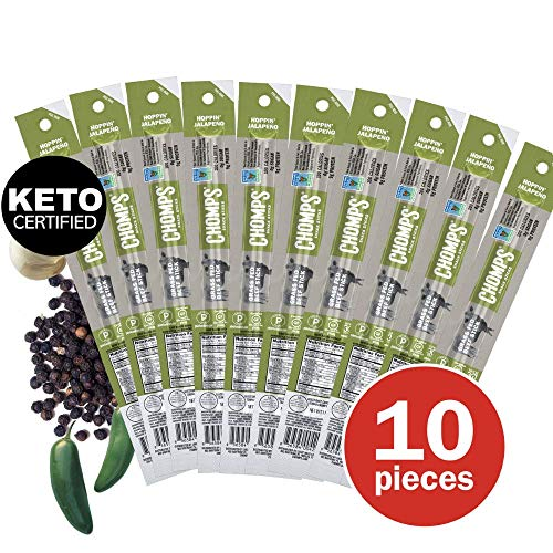 - CHOMPS Grass Fed Beef Jerky Meat Snack Sticks | Keto Certified, Whole30 Approved, Paleo, Low Carb, High Protein, Gluten Free, Sugar Free, Non-GMO | 100 Calorie 1.15 Oz Sticks, Jalapeño Beef 10 Pack