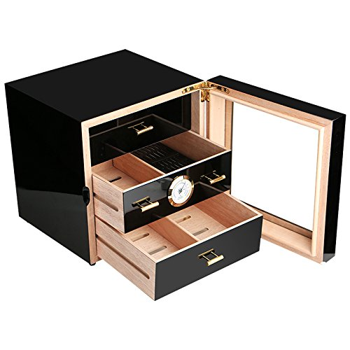- Black Gloss Piano Finish Spanish Cedar Lined Cigar Cabinet Humidor with Drawers
