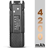 NKTECH BL-8C 4200mAh Extended 7.4V Li-ion Battery Batteries Accessories For BaoFeng Pofung UV-82 UV-82HP UV8D UV82C UV-82L UV82X Two Way Radio Included 2Pcs 2100mAh Li-ion Polymer Battery