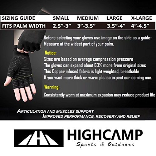 Arthritis Gloves Women- Copper Gloves For Men- Compression Gloves Recovery & Relieve For Arthritis, RSI, Carpal Tunnel, Swollen Hands, Tendonitis, Everyday Support & More- Fingerless Gloves/ Black/ L by Highcamp (Image #3)