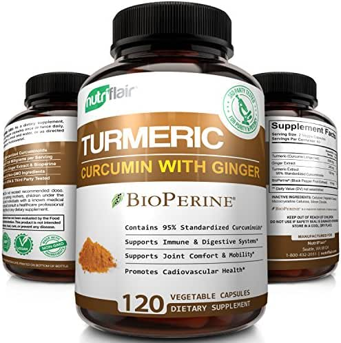 Turmeric Curcumin with Ginger & BioPerine Black Pepper Supplement, 120 Capsules - Anti-Inflammatory, Antioxidant, Anti Aging - 100% Natural, Non-GMO, Vegan Best Maximum Potency, No Side Effects