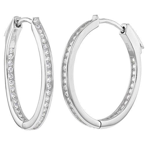 (925 Sterling Silver Channel Set Round Inside Out CZ Women Hoop Earrings)