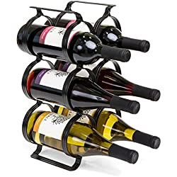 Best Choice Products 6-Bottle Secure Steel Countertop Wine Rack Storage w/Built-in Handles - Black