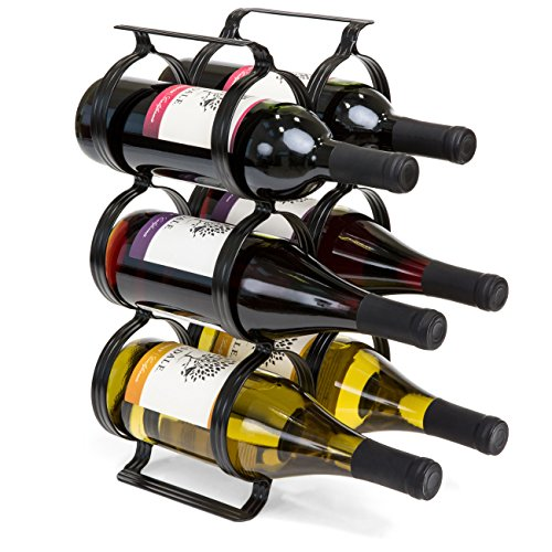 Price comparison product image Best Choice Products 6-Bottle Secure Steel Countertop Wine Rack Storage w / Built-In Handles - Black