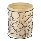 InterDesign Twigz Metal Wire and Plastic Wastebasket Trash Garbage Can for Bathroom, Bedroom, Home Office, Kitchen, Patio, Dorm, College, Set of 1, Vanilla Tan and Bronze