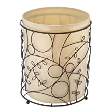 InterDesign Twigz Metal Wire and Plastic Wastebasket Trash Garbage Can for Bathroom, Bedroom, Home Office, Kitchen, Patio, Dorm, College, Set of 1 Vanilla Tan and Bronze