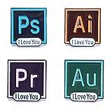 Wentur PS PR AI AU I Love You Enamel Pin Set - Software Icon Art Enamel Lapel Pin for Programmer Artists Friends (4 Pieces)