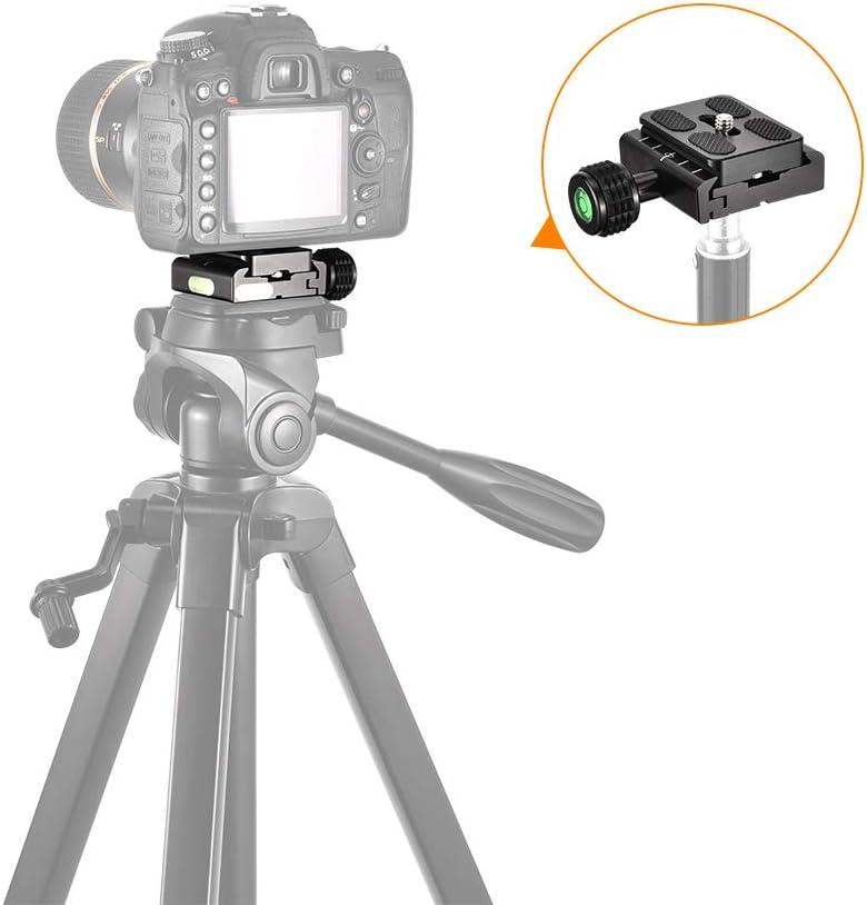 Andoer Aleaci/ón de Aluminio QR-60 Universal Placa de Liberaci/ón R/ápida Montaje de Tornillo de 1//4con Attachment Loop para Arca-Swiss Standard Ball Head Tripod para Canon Nikon Sony DSLR Camera