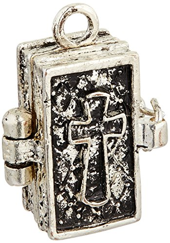 Prayer Box Metal Charm 1/Pkg-Antique Silver Bible (Prayer Bible Charm)