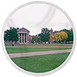 Pixels Round Beach Towel With Tassels featuring ''Panoramic View Of The Campus'' by Pixels