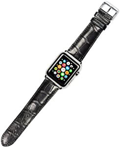 Debeer Replacement Watch Band - Genuine Alligator - Black - Compatible with Apple 42mm & 44mm Series 1, 2, 3, 4, 5, and 6 Apple Watch [Silver Adapters]