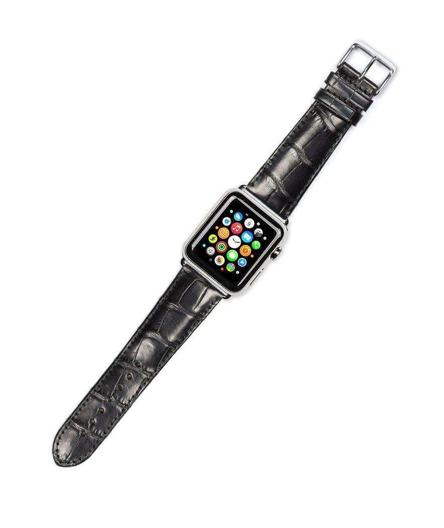 Debeer Replacement Watch Strap - Genuine Alligator - Black - Fits 42mm Apple Watch [Black Adapters]