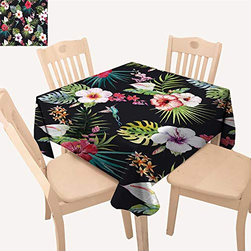 Orchid Print Tropical - UHOO2018 Square/Rectangle Polyester Cloth Fabric Cover Tropical flowerhibiscus Flowers Palm Leaves Orchids Bright Summer Print Table Top Cover,50x 56inch