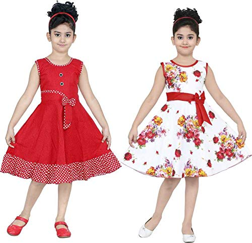 ULTRA TREND Girl's Multi-Colour Cotton Blend A-Line Dress Midi/Knee Length Dress for Casual and Ethinic Sleeveless Wear Combo Pack of 2