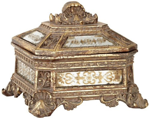 Kensington Hill Florentine Antique Gold Mirrored Jewelry Box Hill Bedroom