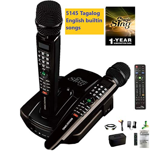 2019 ET23PRO WIFI Magic Sing Karaoke Two Wireless Mics 12,000 English +1 Year Subscription for Tagalog Hindi Spanish Russian Vietnamese Japanese Korean songs & more