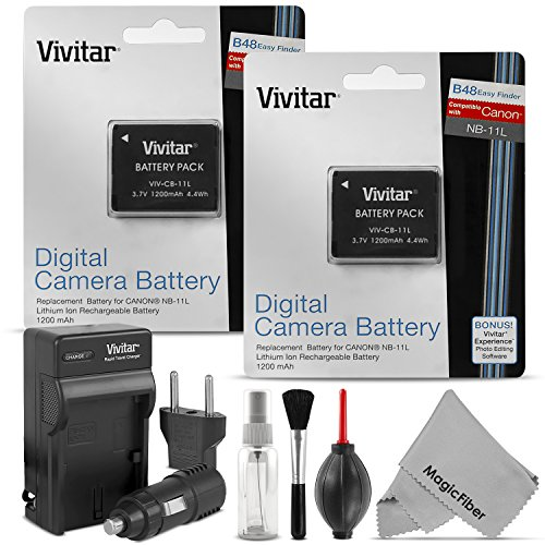 Vivitar NB-11L / NB-11LH Battery and Charger Set for Canon