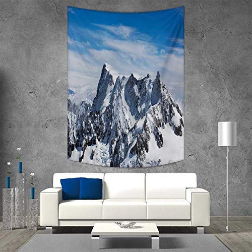 smallbeefly Landscape Wall Hanging Tapestries Picturesque Mont Blanc Cliff to Clouds Idyllic Environment Trekking Landmark Large tablecloths 70W x 84L INCH White Blue