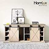 HomLux 4ft Double Cabinet Door 48''Mini Barn Door Hardware Kits for Double Cabinet Doors - Smoothly and Quietly - Simple and Easy to Install (J Shape Hangers)