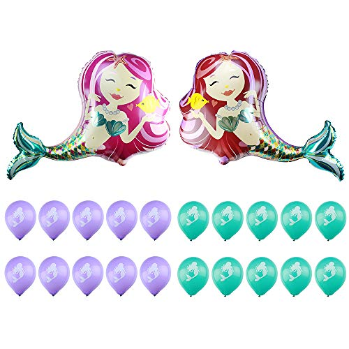 Cute Mermaid Balloons Kit for Party Supplier, Baby Shower Mermaid Shaped Balloons, 22 pack Mermaid Helium Balloons - 2pcs 42'' Giant Mermaid Foil Balloons, 20pcs Mermaid Printed Latex Balloons -
