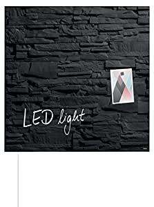 SIGEL GL404 Pizarra de cristal magnética Artverum LED light, 48 x 48 cm, diseño pizarra natural