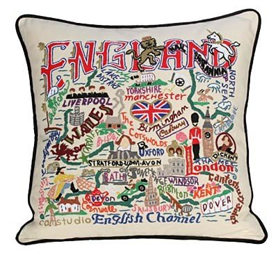 Catstudio England Pillow - Geography Collection Home Décor 063(CS) by Catstudio Embroidered Pillow