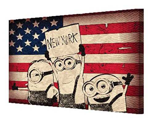 Minions Despicable Me New York Sign American Flag Old Glory NYC Movie Film Stretched Canvas 18x12 inch