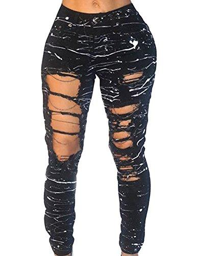 Jean Strappati Alta Vita Donna Skinny Catena Nero Pantaloni Matita Multicolore Jeans RFdwn1Zxz