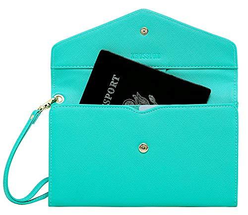 Krosslon Rfid Travel Passport Wallet for Women Slim Holder Wristlet Document Organizer, 213# Turquoise