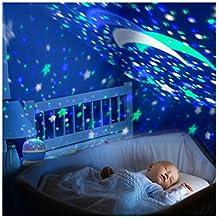 Romantic Rotating Projector Cosmos Astrostar Astro Star Sky Moon Night Lighting Lamp 2 Generation 4 LED Beads 3 Model Light Gift for Christmas (Blue)