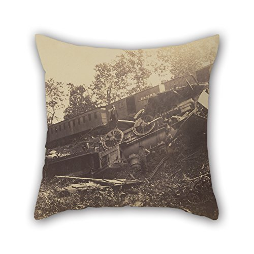 Beautifulseason The Oil Painting A.J. Russell (American - Railroad Accident Caused By Rebels Throw Cushion Covers Of ,18 X 18 Inches / 45 By 45 Cm Decoration,gift For Kitchen,kids Girls,car,couch,lo (Patio Tie Railroad)