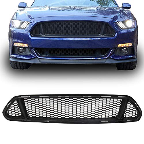 Ford Mustang Front Grill - Upper Grille Fits 2015-2017 Ford Mustang | IKON Style PP Black Front Bumper Grill Hood Mesh by IKON MOTORSPORTS