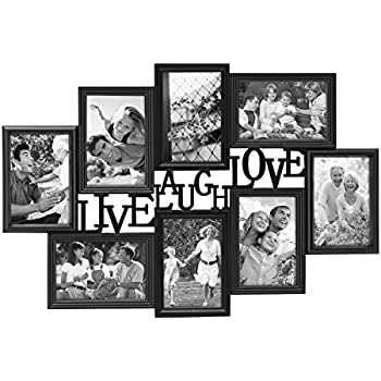 joveco 8 opening plastic black wall hanging photo frame collage live laugh love