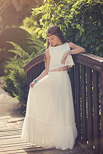 4d1fef126c Amazon.com: Boho-chic Flower Girl Dress, Junior Bridesmaid Dress, Boho skirt  and top set, Bohemian flower girl, vintage wedding, Bohemian Wedding:  Handmade