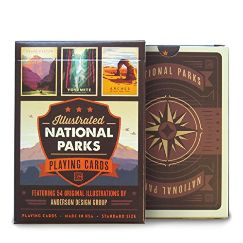 Illustrated National Parks Playing Cards for these ideas to visit during FREE Admission To National Parks Occurs Annually On Fee-Free Entrance Days